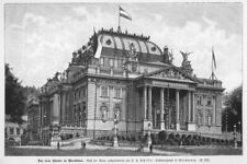 Wiesbaden, das neue Theater, Original-Holzstich von 1895