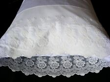 Embroidered Pillow Cases White Standard (queen) --100% Cotton Sateen--Tc 300