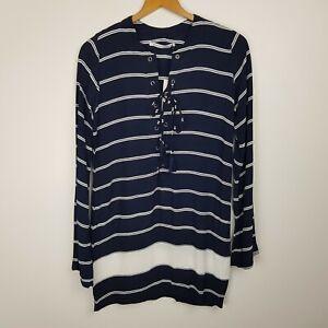 Faithfull The Brand Dress Size S Blue Striped Long Sleeve NWT
