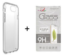 Tempered Glass Screen Protector for Apple iPhone 6+, 7+, 8+ and Clear Gel case