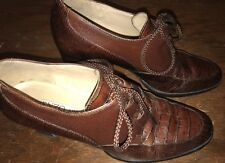 ENZO ANGIOLINI Shoes Women's 7M Leather Oxford Heels Lace Up Chunky Heel