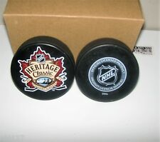 NHL Heritage Classic Outdoor Hockey Game Souvenir Puck 2011 Flames Canadiens