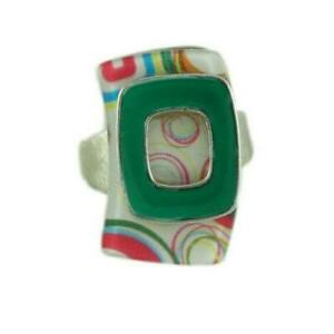 Green and White Hippie Chic Adjustable Ring - RF311