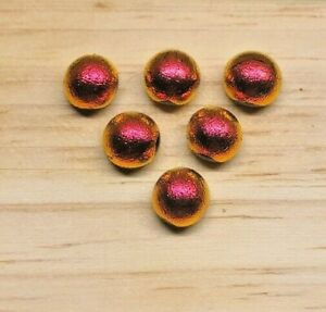 6 ORANGE/RED Shimmer Dichroic Fused Glass Cabochons 7mm JEWELLERY/MOSAIC #4f