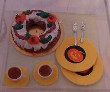 Dollhouse Miniature Handcrafted Halloween Fall cake cider cups, plates,  forks