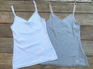 Gilly Hicks Sydney Women's Tank Top Lot of 2 White & Gray Lace Back Size S