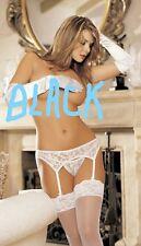 Black Lace Garter Belt Adjustable Garters and G-string One Size Shirley 90060