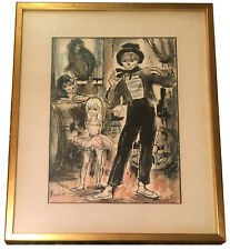 Elmyr de Hory? Circus Clown Scene In the Manner of Bernard Buffet Signed BOUTIN