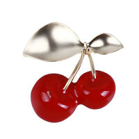 Simple Exquisite Red Cherry Fruit Brooch Enamel Brooch Pin For Women Gift WD