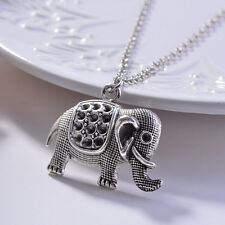 Retro Silver Crystal Elephant Charm Pendant Sweater Chain Necklace Jewelry Gifts