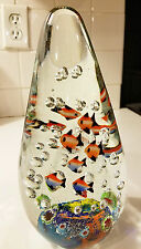 "Murano Italian Fish Aquarium Art Blown Glass Sculpture Paperweight Tropical 9"""