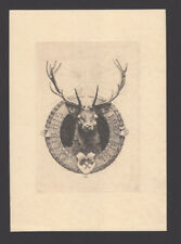 "EXLIBRIS, 046b - Ferdinand Schmutzer "" Heiliger Hirsch / Holy deer "" 1917"