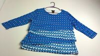 Multiples Women's ¾ Sleeve Blouse Top XL Extra Large Multicolor Geometric Layers