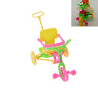 Cute Plastic Bike Tricycle with Push Handle for Dolls Kids Gift TUS jv