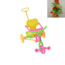 Cute Plastic Bike Tricycle with Push Handle for Dolls Kids Gift BDAU