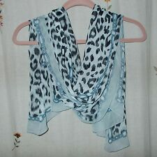 Black & Grey Animal Print w Blue Chain Detail on White Background, Oblong Scarf