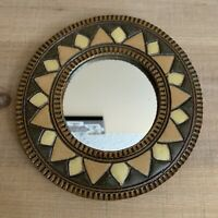 Hanging Sun / Sunflower Mirror, Small, Ceramic & Heavy, Neutral Colors