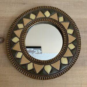 """Hanging Sun / Sunflower Mirror, Small, Ceramic & Heavy, 7.5"""" Diameter"""