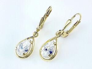 333 Gold Ohrringe mit Zirkonia in Tropfen Form 27mm Länge   1 Paar