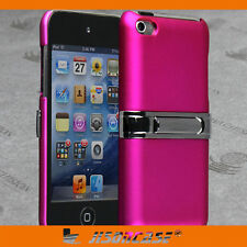 Hot Pink Rubber Back Case Cover for Apple iPod touch 4 with METAL STAND !