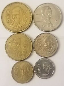 $1000 Pesos Mexican Coin Circulated 1988 Mexico lot of 6 different denominations