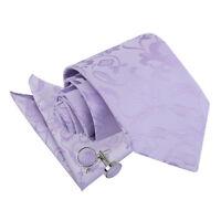 DQT Woven Floral Lilac Mens Classic Tie Hanky Cufflinks Wedding Set