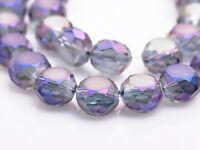 10pcs 14X8mm Rondelle Drum Faceted Crystal Glass Loose Beads Transprent Purple