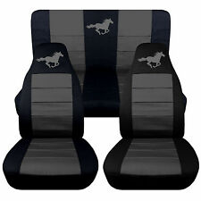 Front & Rear Black & Charcoal Horse Seat Covers 1994 to 2004 Ford Mustang Coupe