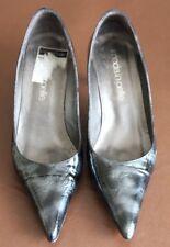Moda in Pelle Grey Black Leather Stiletto Heeled court shoes size 5 hardly worn