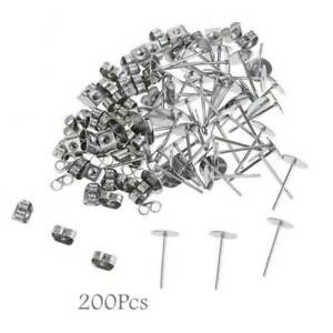 200 Stainless Steel DIY Flat Ear Posts Stud Earring For Jewelry Making
