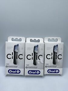 2 Oral-B CLIC REPLACEMENT BRUSH HEADS Lot of 3
