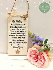 Friends Inspirational Quote Sign Hanging Plaque Shabby Chic Gift 9 x 19 cm Cream
