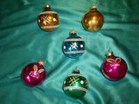 ~ 6 alte Christbaumkugeln Glas gold pink blau grün Weihnachtskugeln Tannenbaum