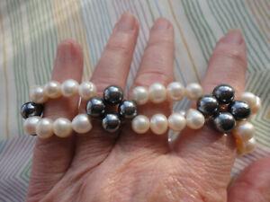 Hematite quad + freshwater pearl double row 2 cm widest 36 gram stretch bracelet