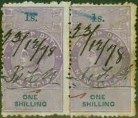 New Zealand 1867 Stamp Duty 1s Purple & Green Pair P.12.5 Wmk NZ R343