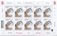 "Monaco 2020 International Cat Show ""Siberian"" cat Jolly d'Artann Full Sheet Mnh"