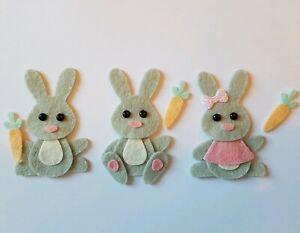 Felt Rabbit Embellishments.Die cuts. Easter.  Animal  die  cuts