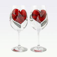 Set Of 2 Hand Painted Wine Glasses Hearts Handmade Art Glass Gift Decoration UK