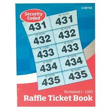 6 Books of Cloakroom Raffle Tombola Draw Tickets Numbered 1 - 1000 NEW
