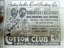 <1937 newspaper w LARGE ADVERTISEMENT for the COTTON CLUB in HARLEM Negro Stars