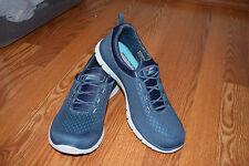 NEW Womens Skechers Slate Blue Bungee Slip-On Flex Appeal Athletic Shoes 7 US