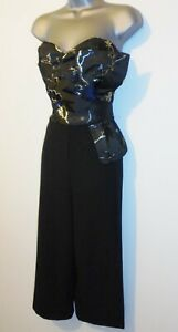 BNWOT Lipsy Oriental Jacquard Bow Evening Occasion Culotte Jumpsuit Size 14