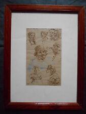 """Emile Normand SAINT-MARCEL 1840-1914  """"Etude de Portraits"""" ENCRE rehaus GOUACHE."""