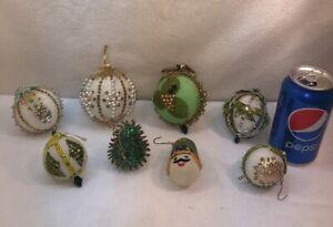 Vtg 8pc Lot Foil Green Push Pin Craft Art Foam Ornament Sequined Christmas Balls