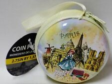 1 PARIS Double End Zipper Coin Purse Paris Design Yellow Lining 2.75in X 1.37in