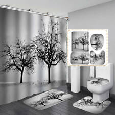 Winter Snow Tree Art Shower Curtain Bath Mat Toilet Cover Rug Bathroom Decor