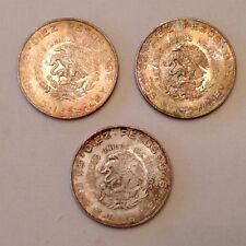 - Lot of 3- Beautifully Toned 1956 Mexico 10 Silver Pesos - Uncirculated Unc
