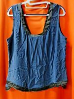 Ramy Brook Women's Lindsey Sueded Silk Chain Tank Top, Blue/Black, LARGE (SR145)