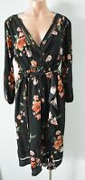 Who I Am Dress Size 10 Black Green Pink Floral Shift Midi