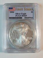 PCGS MS69 2006 American Silver Eagle 1 oz .999 Fine Silver Dollar First Strike